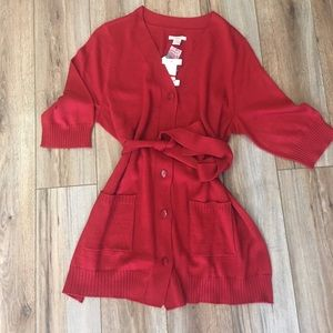 Covington NWTs Long RED Warm Cardigan